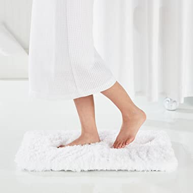 Genteele Memory Foam Bath Mat Shaggy Bathroom Mat, Non-Slip, Water Absorbent, Super Plush, Washable Bathroom Rug, 21  X 34 , White