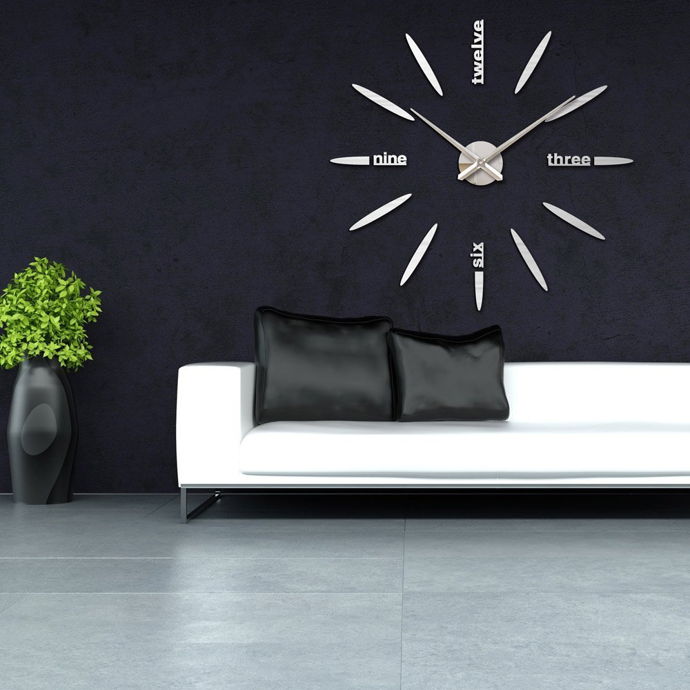 Amazon vipecho modern 3d frameless large wall clock style amazon vipecho modern 3d frameless large wall clock style watches wall sticker diy room home decorations big timer 11 silver home kitchen amipublicfo Image collections