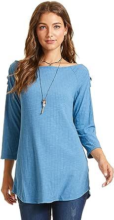 SONJA BETRO Women's Rib Knit Cross Strap Cold Shoulder Boatneck Tunic Top Plus Size