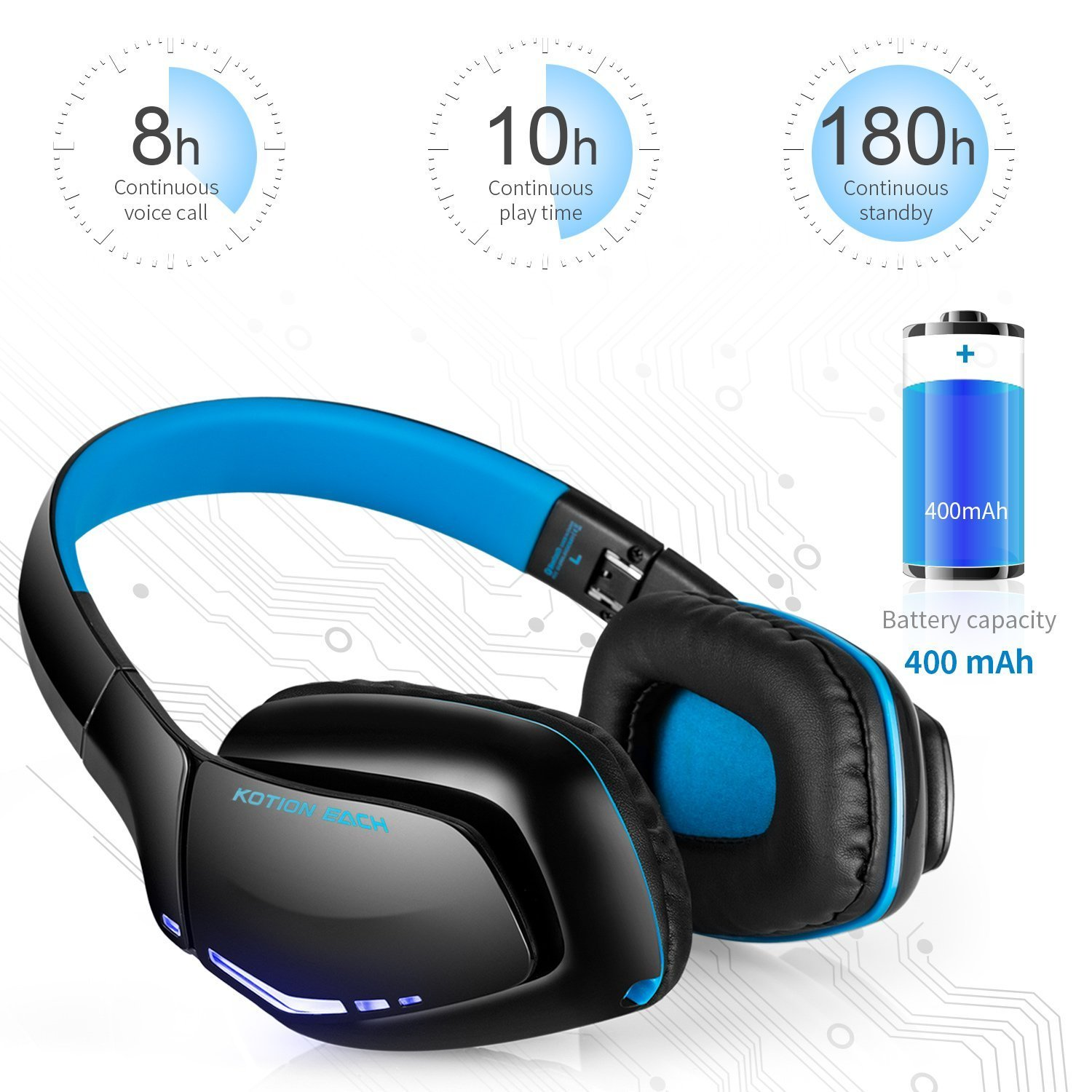 ZaKitane KOTION EACH B3506 Bluetooth Headphones for PS4 XBOX ONE S, Wireless Headset Foldable Gaming Headset V4.1 with Mic for Playstation 4 PC Mac Smartphones Computers (Blue)