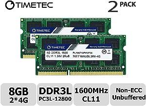 Timetec Hynix IC 8GB Kit (2x4GB) DDR3L 1600MHz PC3L-12800 Non ECC Unbuffered 1.35V CL11 2Rx8 Dual Rank 204 Pin SODIMM Laptop Notebook Computer Memory Ram Module Upgrade (Low Density 8GB Kit (2x4GB))