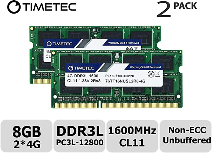 Timetec Hynix IC 8GB Kit (2x4GB) DDR3L 1600MHz PC3L-12800 Non ECC Unbuffered 1.35V CL11 2Rx8 Dual Rank 204 Pin SODIMM Laptop Notebook Computer Memory Ram Module Upgrade (Low Density 8GB Kit (2x4GB))