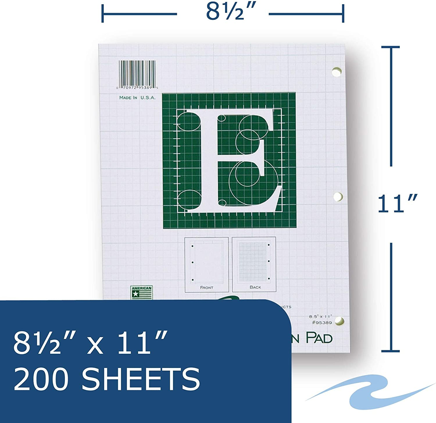Extra Heavy Backing 8.5x11 5x5 printed Grid 200 sheets of 16# Green tint Paper 95389cs1 3-Hole Punched Roaring Spring Paper Products Case of 24 Engineer Pads