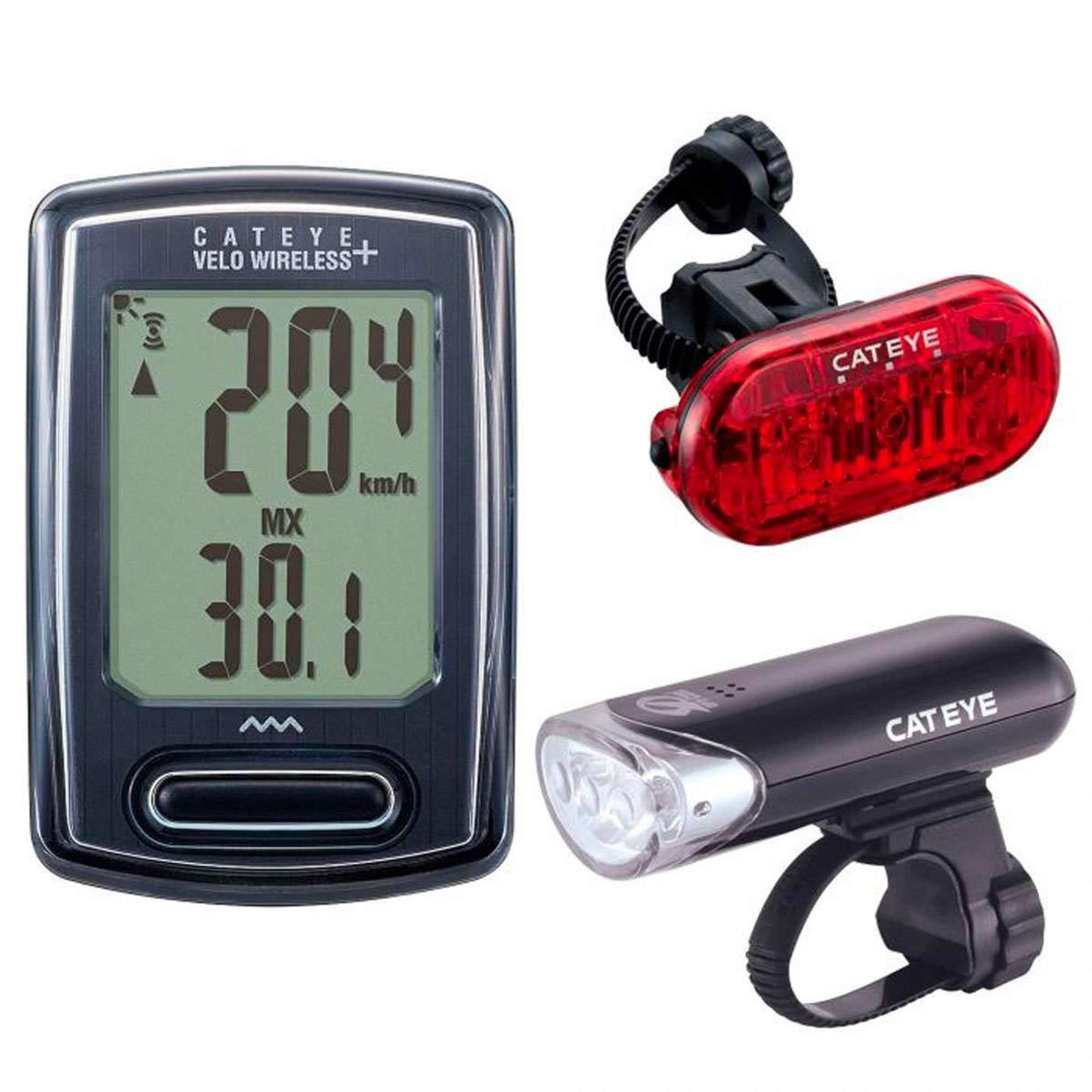 CatEye - Bike Headlight, Tail Light and Computer Set, Velo Wireless, HL-EL135 and Omni 3 LED, Includes Mounting Hardware