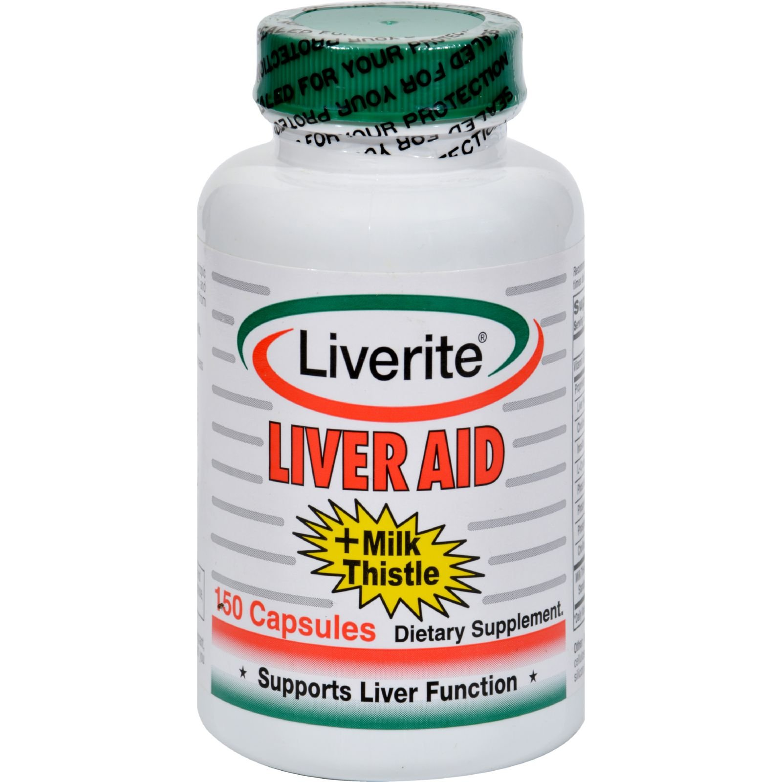 Liverite Liver Aid Plus Milk Thistle - Supports Liver Function - Gluten Free - Dairy Free - 150 Capsules (Pack of 2)