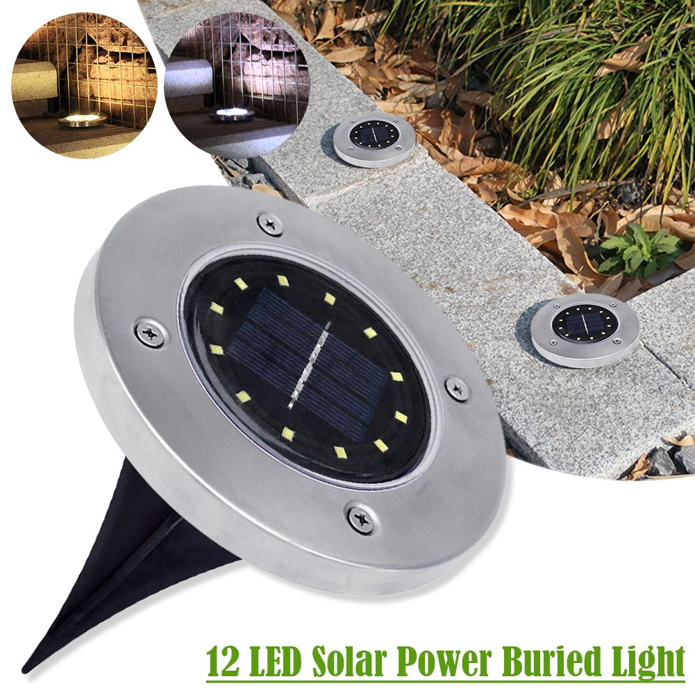 Lifesongs 12 LED Solar Power Buried Light Ground Lamp Outdoor Path Way Garden Decoration White Light