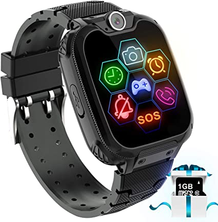 Karaforna Kids Game Smart Watch Phone - Boys Girls Smartwatch Phone with 7 Games Camera Alarm Clock Touch Screen SOS Call for Children Birthday Gifts ...
