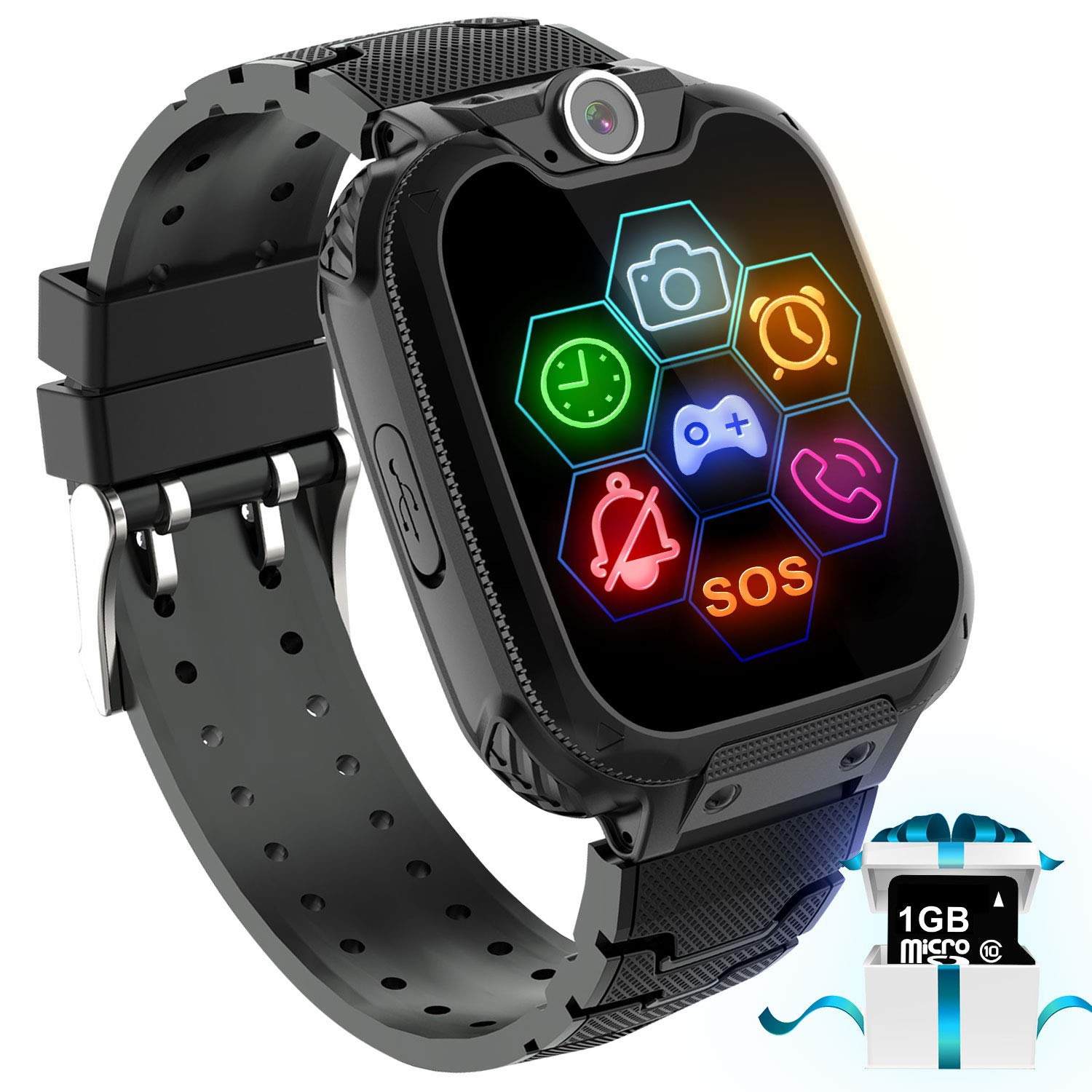 Karaforna Kids Game Smart Watch Phone - Boys Girls Smartwatch Phone with 7 Games Camera Alarm Clock Touch Screen SOS Call for Children Birthday Gifts with 1GB Micro SD Card Kids Phone Watches by Karaforna