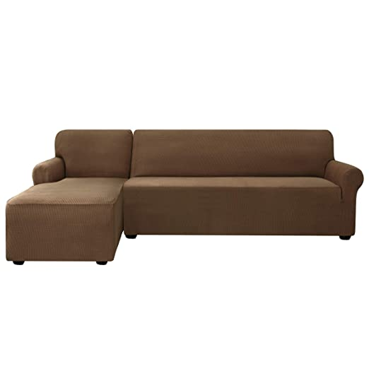 subrtex Funda Sofa Chaise Longue Brazo Izquierdo Elastica Protector para Sofa Chaise Longue Antimanchas Ajustable (Marron)