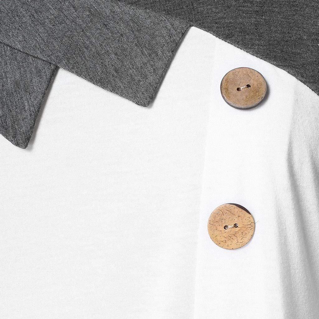 Longra Camicetta Donna T-Shirt con Bottoni Senza Maniche Irregolare Canotta Slim Fit Canotta Bluse E Camicie Eleganti Taglie Forti Eleganti Bluse Estive Canottiere Casual Magliette XL-5XL