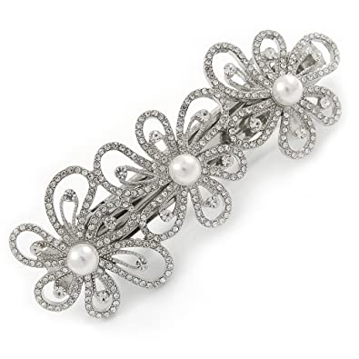 Avalaya Silver Tone Open Cut Clear Crystal, White Glass Pearl Flower Barrette Hair Clip Grip - 85mm Across