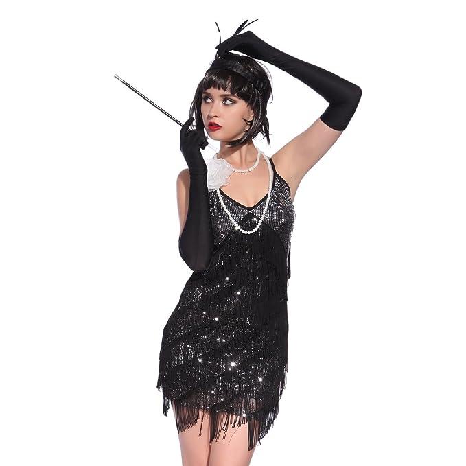 VADOOLL® - Vestido de flecos de los años 20 para mujer, de estilo ...