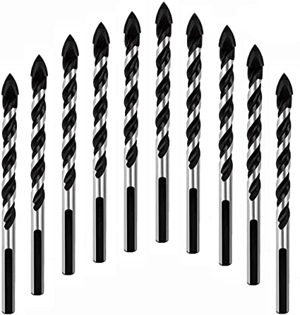 Wood Concrete Glass Tungsten Carbide Tipped Masonry Drill Bit Set for Wall Mirror 10-Piece 6mm Multi-material Drill Bit Set for Drilling in Tile Multipurpose Drill Bits and Plastic Brick