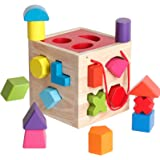 BESTAMTOY Shape Sorter Toy My First Wooden 12 Building Blocks Geometry Learning Matching Sorting Gifts Didactic Classic Toys