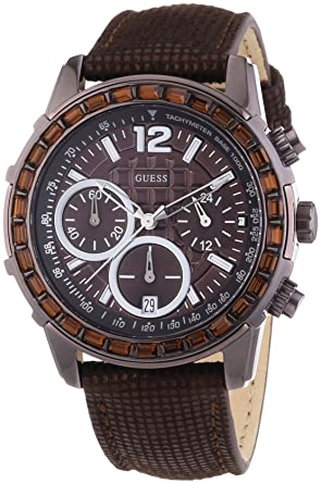 074069308 Amazon.com: Guess W0017L4 Ladies LADY B Chronograph Brown Watch: Watches