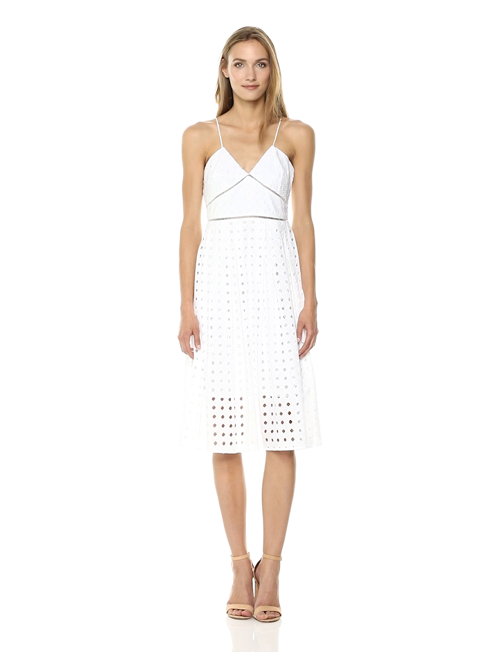 Donna Morgan Women's Spaghetti Strap Eyelet Midi Dress