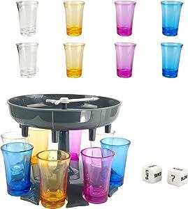 Urban Deco 8 Shot Glass Dispenser and Holder -Dispenser For Filling Liquids, Shots Dispenser, Multiple 8 Shot Dispenser, Bar Shot Dispenser, Cocktail Dispenser, Suitable for parties (Gray)