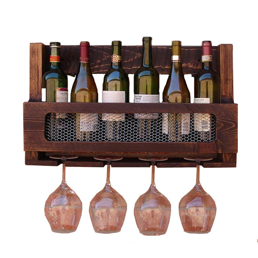 6 Bouteilles Casier À Vin Mural Bois Massif Multifonctionnel Porte Gobelet Porte-bouteille BSNOWF MetaPad-Pro SILVER