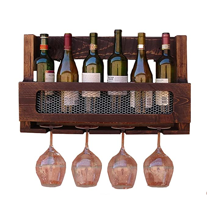 6 Botellas Wine Rack Montado En La Pared De Madera Maciza Multifunción Portavasos Portabotellas: Amazon.es: Hogar