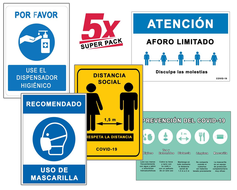 Super Pack 5 Señales Coronavirus | Señal de Dispensador Higiénico + Distancia Social + Mascarilla + Aforo + Pautas | Carteles para Empresas, Comercios, Oficinas | 21 x 30 cm
