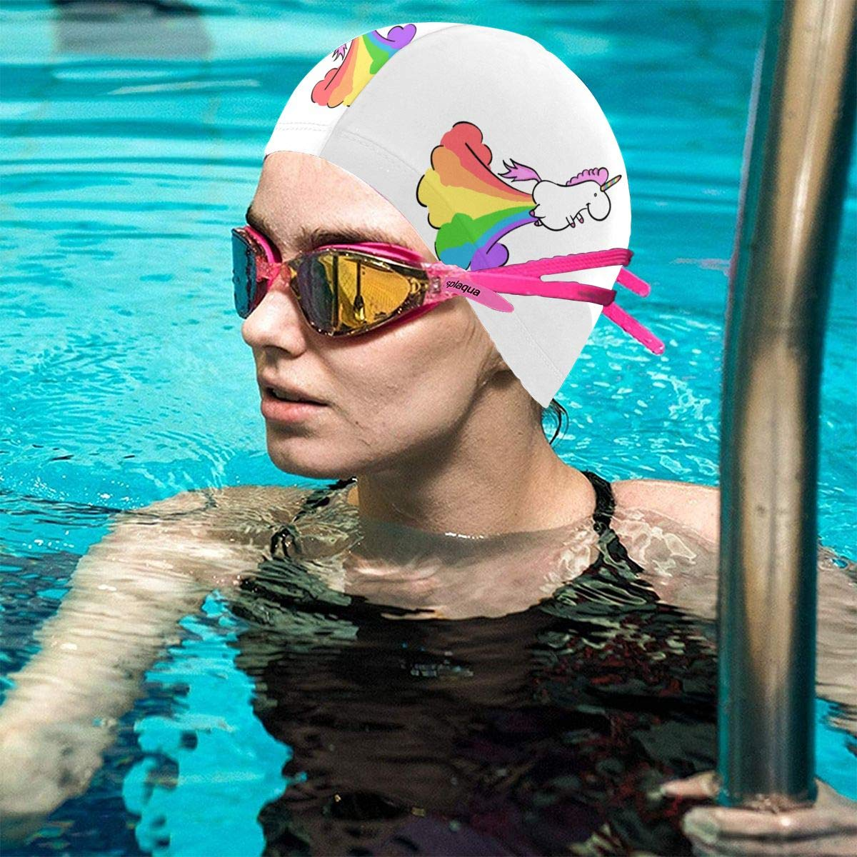 Fart Rainbow Unicorn 0 Lycra Swim Cap Comfortable Fit Swimming Caps Bathing and Shower Hair Cover Ear Protection for Long Hair /& Thick Hair /& Curly Hair Easy to Put On and Off