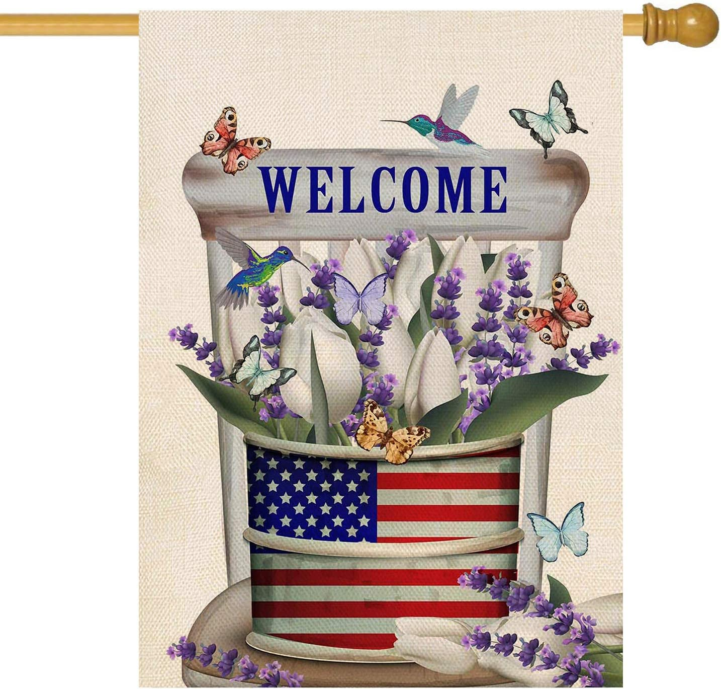 ORTIGIA Home Decorative Welcome Garden House Flag Double Sided Verticle American Flag Bottle of Tulip Lavender Flowers Butterfly Hummingbird Seasonal Yard House Flag for Spring Summer 28x40 Inch