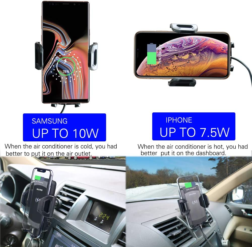 OHLPRO Wireless Car Charger,10W 7.5W Qi Wireless Fast Charging Mount Air Vent Phone Holder and Stick On Dashboard Compatible iPhone Xs Xs Max XR X 8 8 Plus, Samsung Galaxy Note10 S10 Note 9 S9
