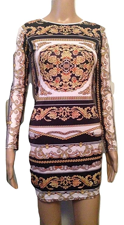 Vestido pequeño de manga larga con estampado blanco y negro, para fiestas, uso en