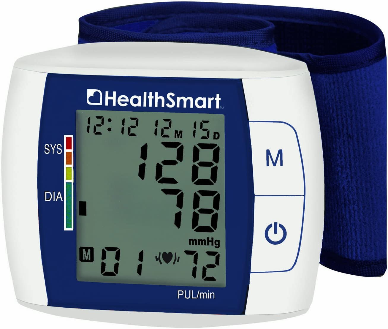 HealthSmart Premium Talking Digital Wrist Blood Pressure Monitor, Bilingual, Two-User Memory, Blue