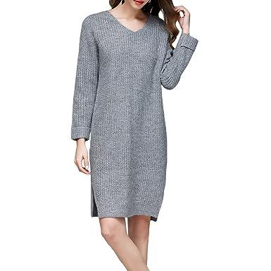 6e754606a78 ZIMOXUAN Fashion Cable Knit Sweater Dress Slim Turtleneck Sweaters for  Women - Grey -: Amazon.co.uk: Clothing