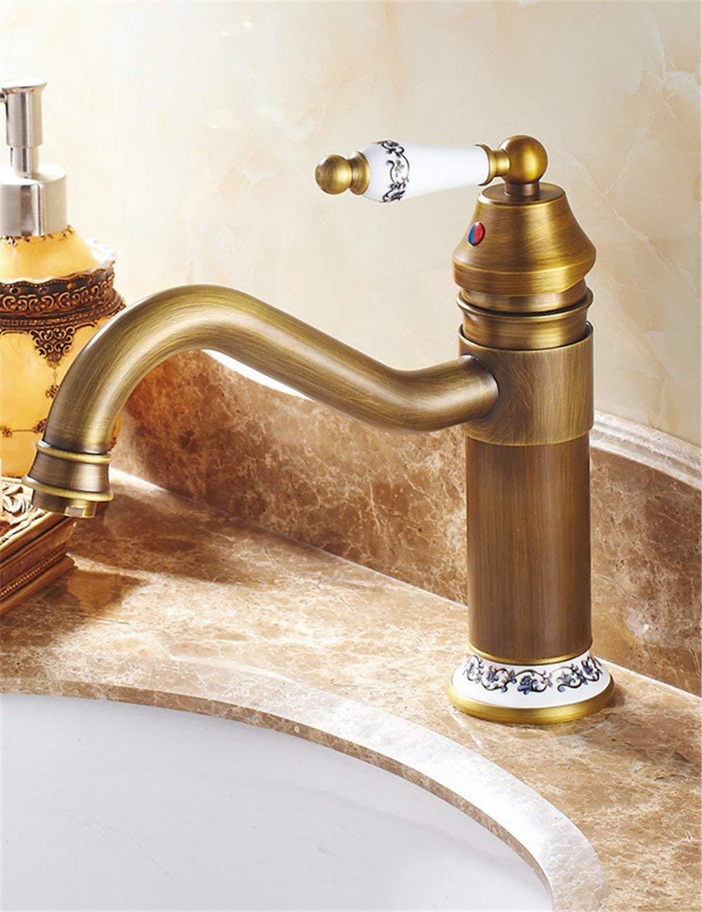 Eeayyygch Wasserhahn für Waschbecken, Antik-Optik, mit gebogener Öffnung, Retro-Stil, einfache Waschtischarmatur,