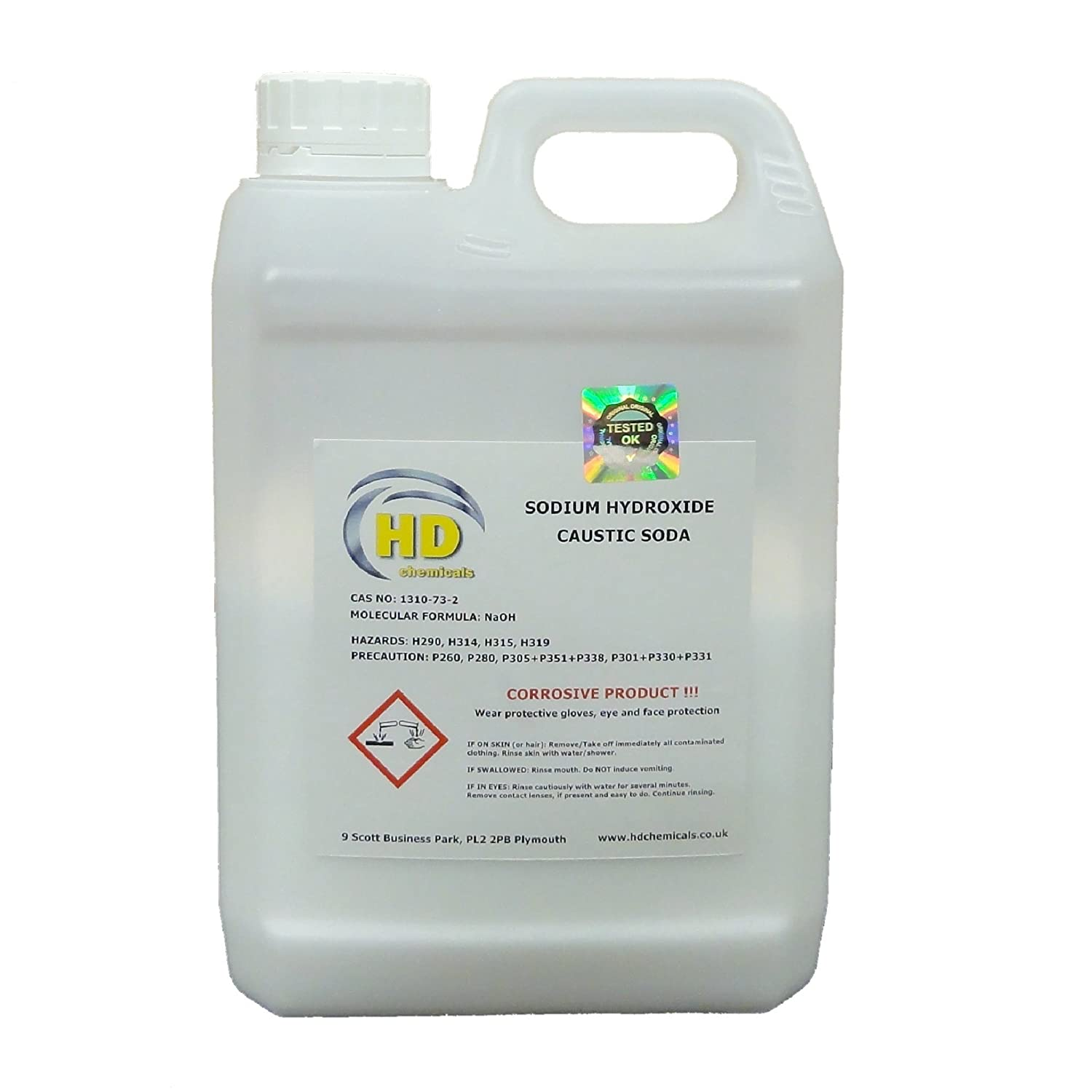 2.5kg Caustic Soda / Sodium Hydroxide, 99% Grade Micropearls, FREE NEXT DAY COURIER - UK MAINLAND ONLY HD Chemicals