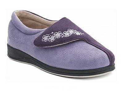 7140a9f7b3a Padders HUG Ladies Microsuede Velcro Extra Wide (EE) Fitting Slippers  Purple-Lavender