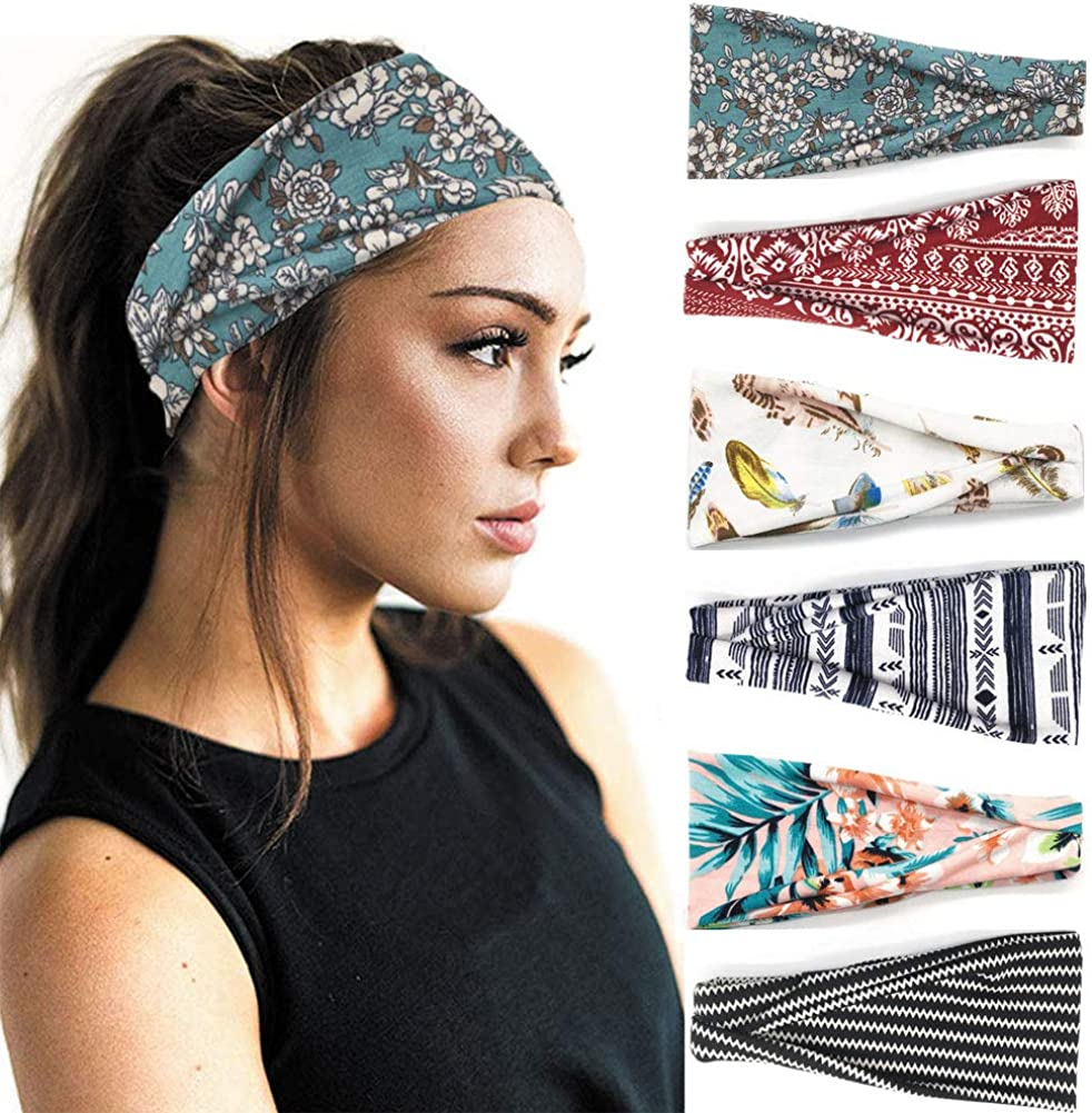 6 Pack Set Women's Yoga Running Headbands Sports Workout Hair Bands