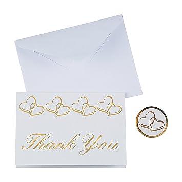Amazon Fun Express Wedding Thank You Cards Gold Two Heart