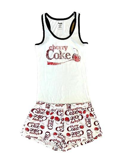 4d703ea3f99ef Cherry Coke Women s Pajama Set - White -  Amazon.co.uk  Clothing