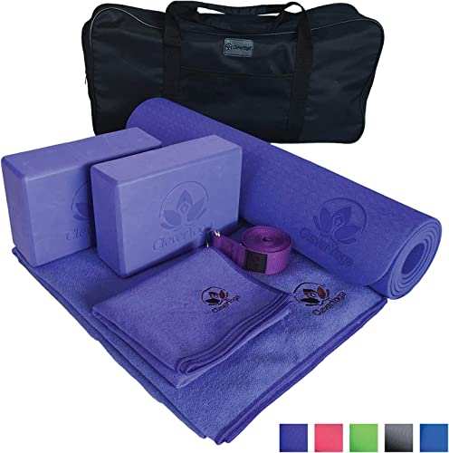 Yoga Set Kit 7-Piece 1 Yoga Mat, Yoga Mat Towel, 2 Yoga Blocks, Yoga Strap, Yoga Hand Towel, Free Carry Case for Exercises Yogis and Mom