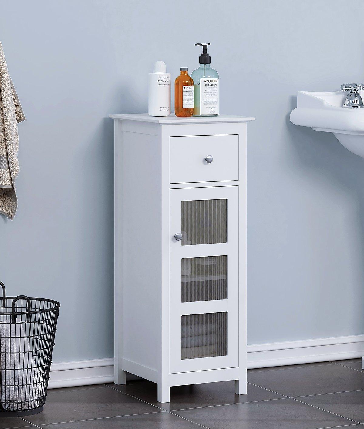 SPIRICH Bathroom Storage Floor Cabinet, Bathroom Cabinet free standing with Single Drawer and Adjustable Shelf,White