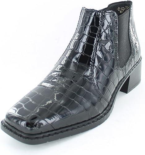 Rieker L3490-00 Black Patent Croc Ankle