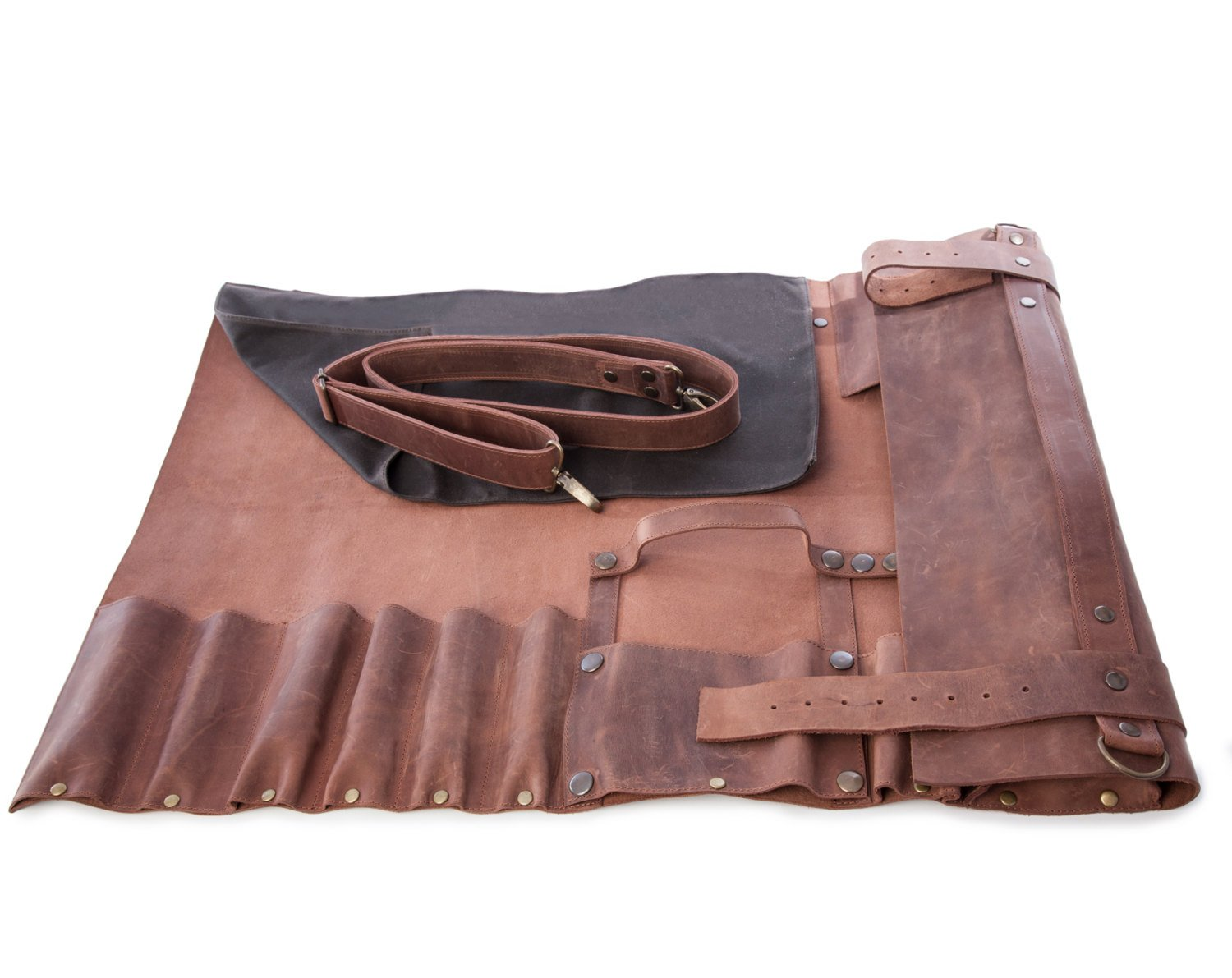 Lightweight Premium Vintage Tan Leather Chef Knife Bag/Chef Knife Roll 8 Pockets by luvsecretlingerie