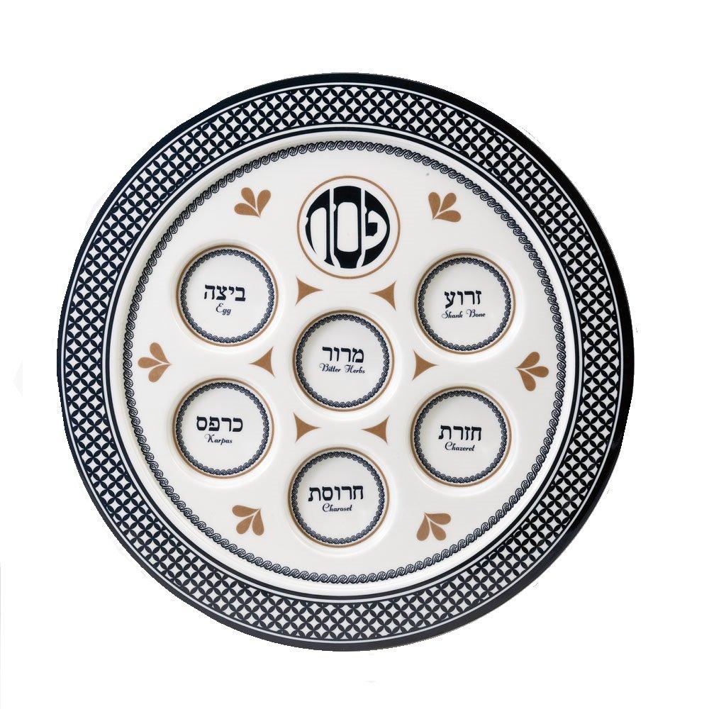Melamine Passover Seder Plate / Blue and White Seder Traditions Rite Lite Ltd. COMINHKPR60700