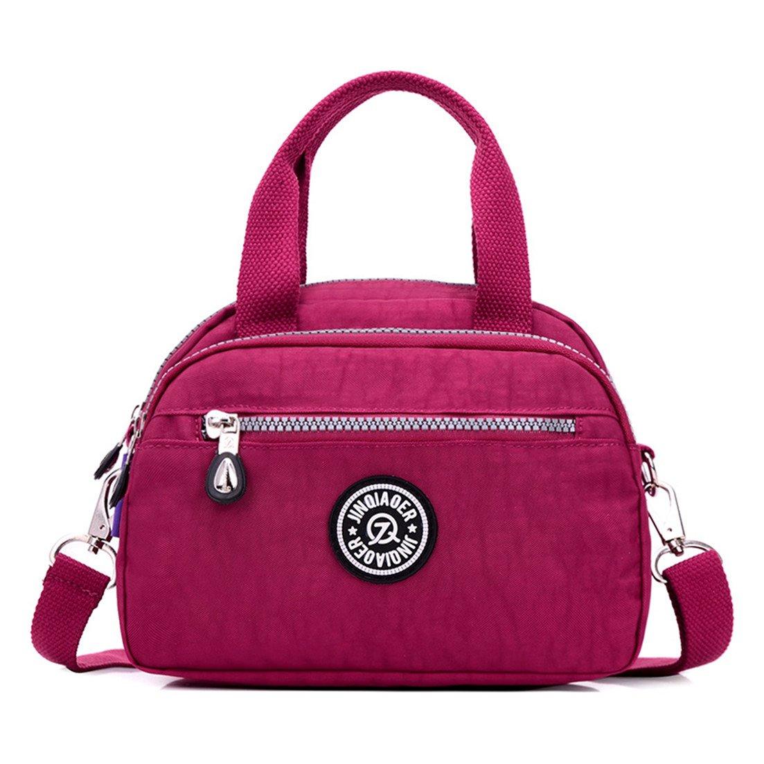 TianHengYi Girls Casual Small Nylon Cross-body Shoulder Bag Multi Pockets Lightweight Handbags & Purses 3120 Claret