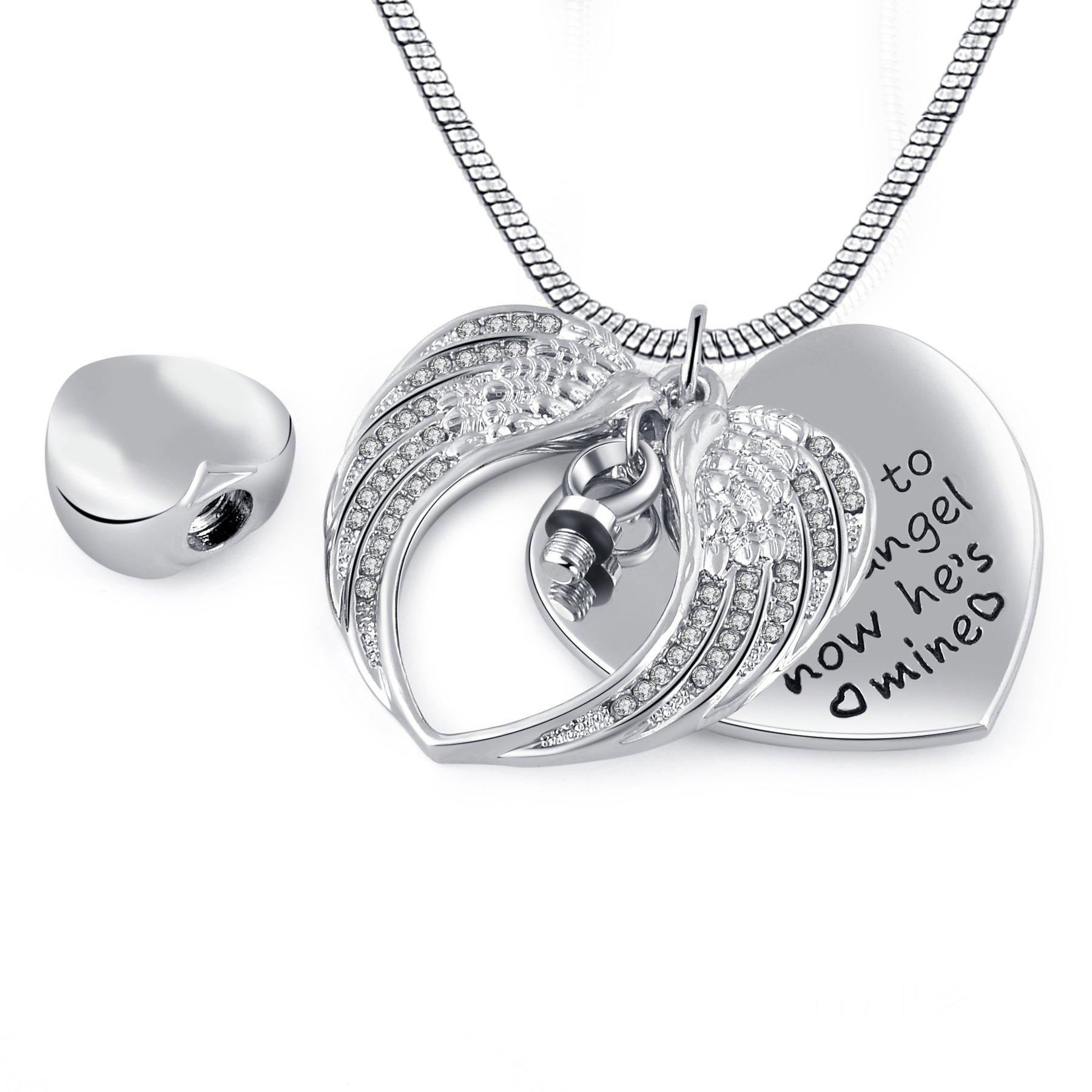 Angel Wing Urn Necklace: Memorial Keepsake Angel Wing Heart Ashes Urn Pendant