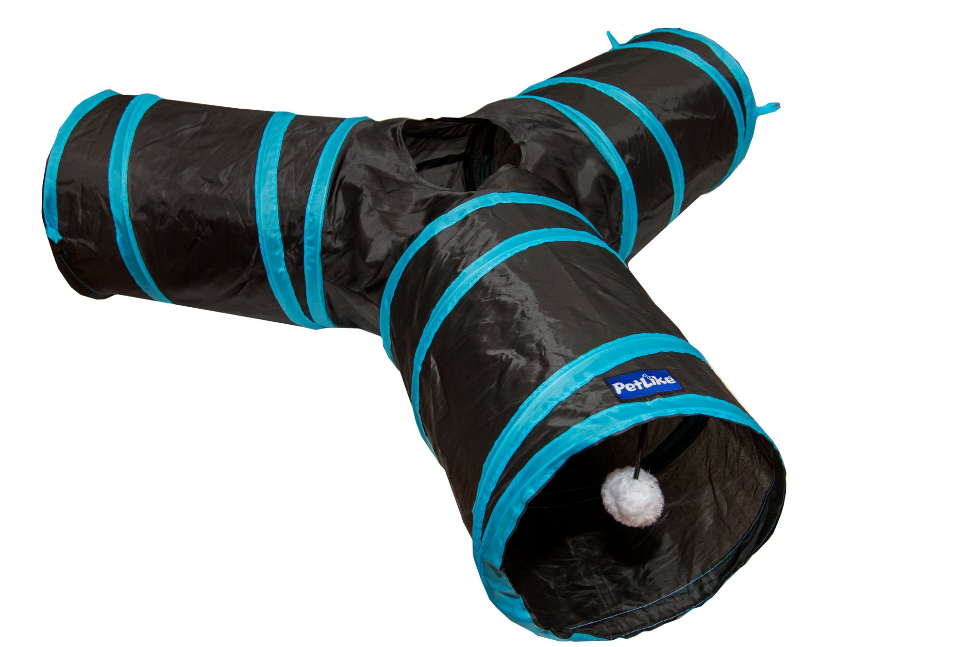 PetLike 3 Way Cat Tunnel Crinkle Collapsible Pet Tube Hideaway Interactive Play Toy with Ball by PetLike (Image #1)