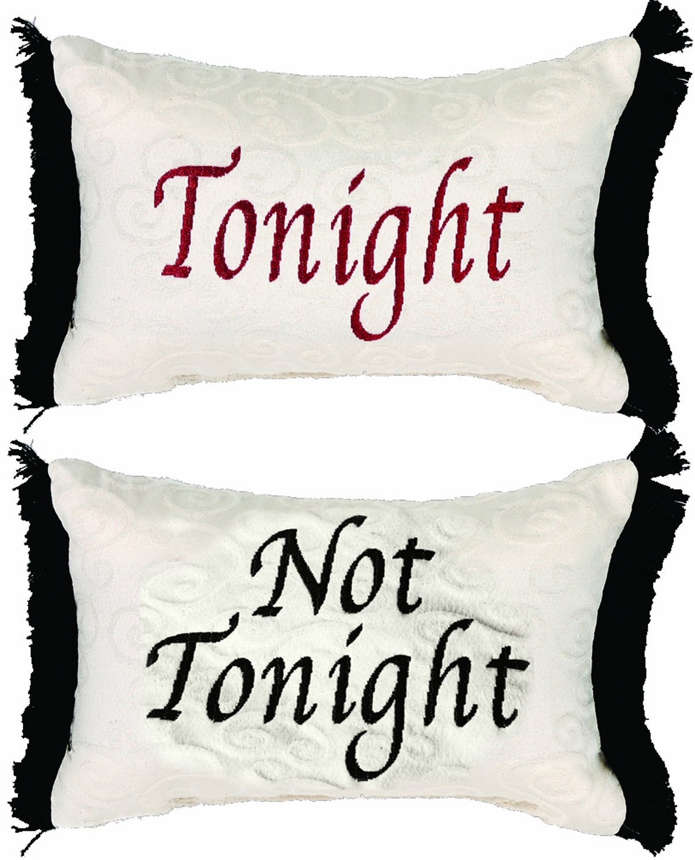 Manual 12.5 x 8.5-Inch Decorative Throw Pillow, Tonight or Not Tonight Reversible Damask