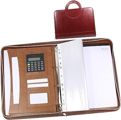 calcolatrice e blocco note con anelli Maniglia Cartella portadocumenti A4 PU pelle