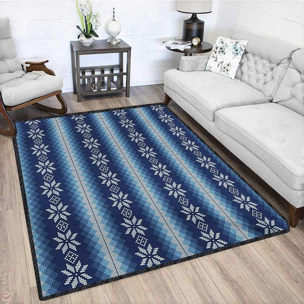 Winter, Area Rug Bedroom, Traditional Scandinavian Needlework Inspired Pattern Jacquard Flakes Knitting Theme, Door Mat Increase 5x7 Ft Blue White by lacencn (Image #4)
