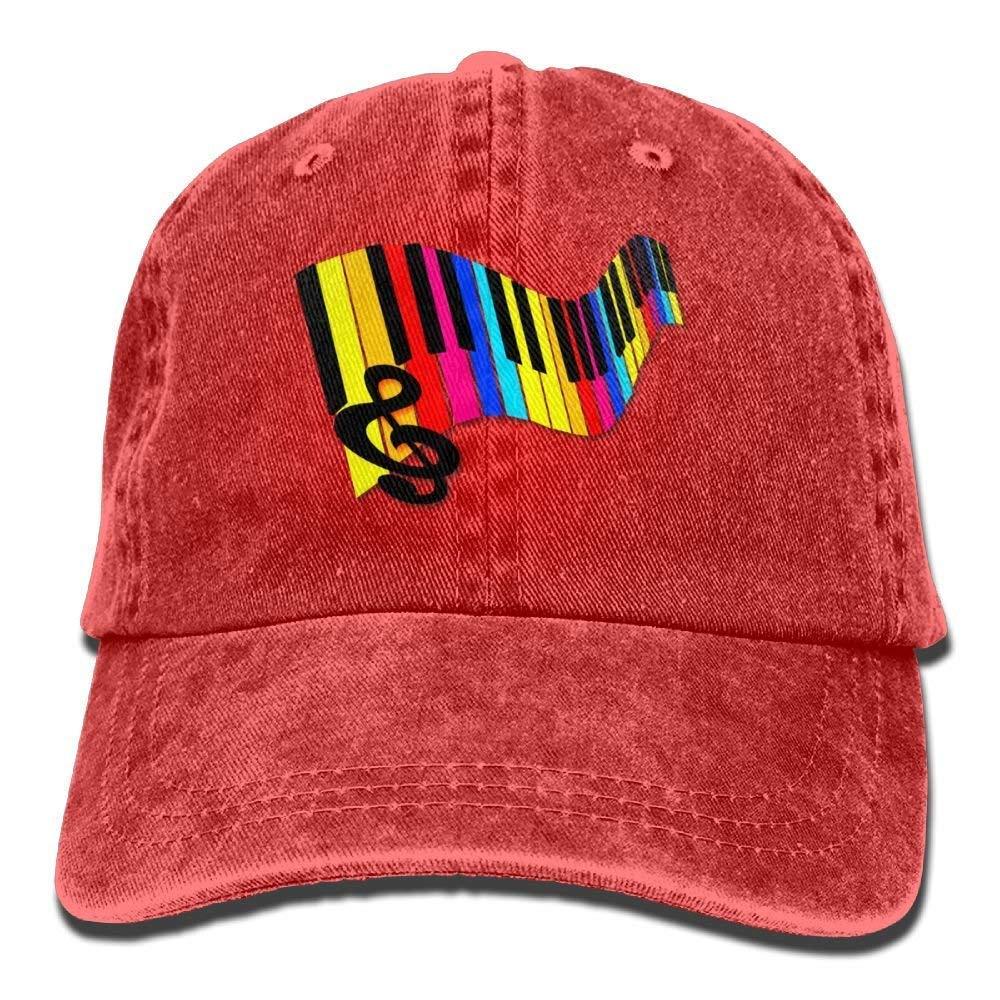 JTRVW Rainbow Piano Keys Denim Hat Adjustable Male Flag Baseball Caps