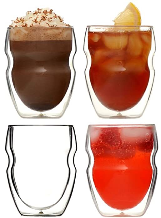 Ozeri Serafino Double Wall Insulated Beverage and Coffee Glasses, 8-Ounce, Set of 4