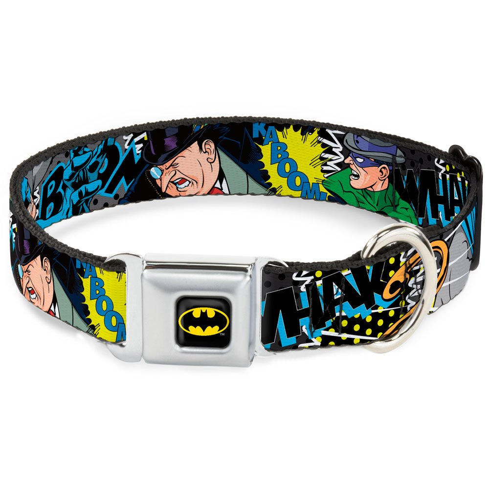 Buckle-Down Seatbelt Buckle Dog Collar Batman & Villains1-1  Wide Fits 15-26  Neck Large